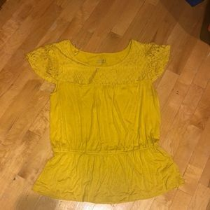 Yellow Peplum Shirt